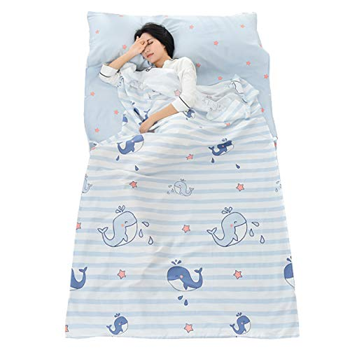 TRIWONDER Sleeping Bag Liner Cotton Camping Travel Sheet Sleep Sack Adult for Hostels Outdoor Picnic Planes Trains (Blue, M - 47x90.5in)