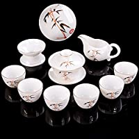 中国の白い羊、翡翠の手描きゴールドセラミックス完全茶セットビジネスギフトカンフーティーセットカスタムロゴ-竹を知ることが多いカバーボウル+アガールウッドカップ+ギフトボックス10セット