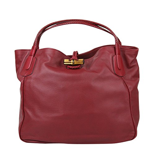 Gucci Women's Bamboo Red Leather Soft Deer Large Hip Tote Bag 338978 6236