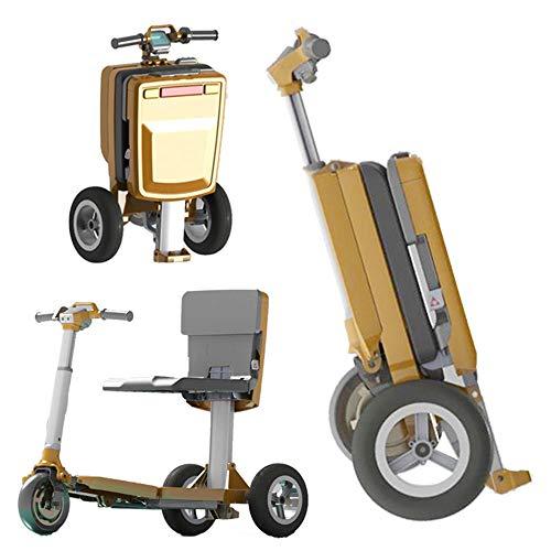 Scooter Eléctrico para Ancianos Batería De Litio Portátil Ligero Plegable con Equipaje...
