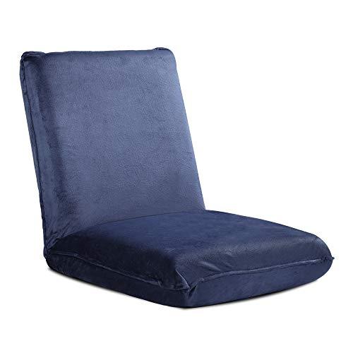 WLIVE 座椅子 フロアチェア ふあふあ 低反発ウレタン 分厚いクッション 42段階 リクライニング 撥水加工 マイクロファイバー生地 静電気防止 ブルー ALSF603BU