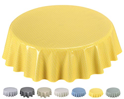Home Direct Mantel de Hule, Redondo 160 cm Amarillo