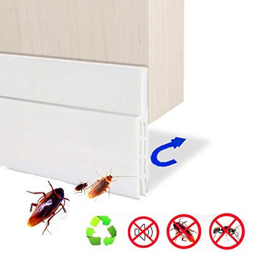 Haikingmoon 100CM x 5CM Selbstklebend Flexibel Gummi Silikon Abzudichten 3 Schichten Die Türdichtung Tür Die Abdichtung Anti-Staub Schallschutz Anti-Bug - (Weiß)