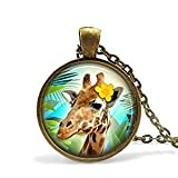 Collar de jirafa, collar de jirafa de animales exóticos, collar con colgante de zoológico de la selva