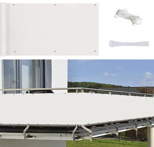 HBDLH Telo Frangivista per Balcone Giardino,Frangivista e Telo frangivento per balconi,Utilizzato per Balcone, Giardino, Protezione per recinzioni, Decorazioni-Bianca_90*900