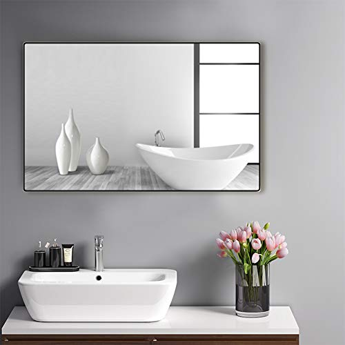 belle electrical Black Wall Mirror for Bathroom, 24x32 Inch Beveled Rounded Corner -