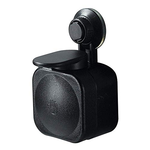 Baifeng Ventosa Dispensador Jabón de Pared ABS Impermeable Caja Jabón para Hogar Baño - Negro