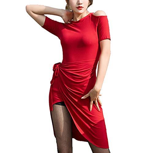 Frauen Tanzkleidung Lateinische Tanz-Kleid Fancy Off-Die-Schulter-Design Side Split Ballsaal Kostüme Mit Shorts Baumwolle, Modal,Rot,M