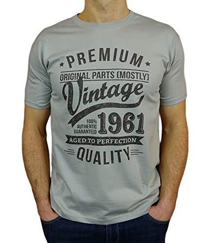 Gifts Vintage Year - Camiseta vintage para hombre, - Regalo de Cumpleaños Camiseta para Hombre - Zinc Gris L