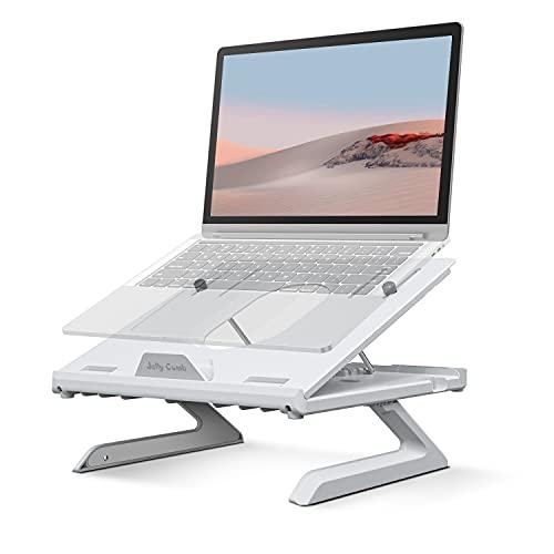 Laptop Ständer, Jelly Comb 9-Stufige Verstellbarer Notebook Ständer mit zwei Handyhalter, Faltbarer Laptophalter für MacBook Pro/Air, Surface, Samsung, Dell, Asus, die meisten 10-17 Zoll-Laptops, Weiß