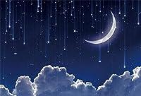 新しい星空の背景7x5ftの月と星の夜の銀河の写真の背景科学テーマイベント休日の写真子供大人の写真部屋の装飾画像booth小道具デジタル壁紙