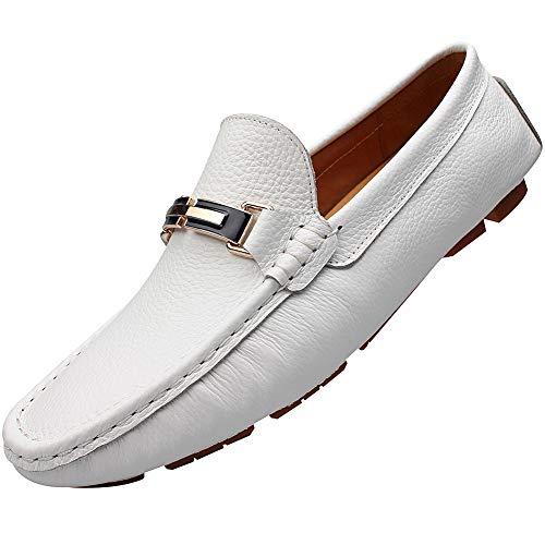 Shenn Herrenschuhe, Loafer, Leder, bequem, flach, 9927, Weiß - weiß - Größe: 43