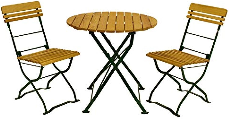 DEGAMO Biergartenset MüNCHEN 3-teilig, Stahlgestell grün, Holz Robinie