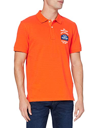 TOM TAILOR Herren Patches Polohemd, 22102-true orange, XXL