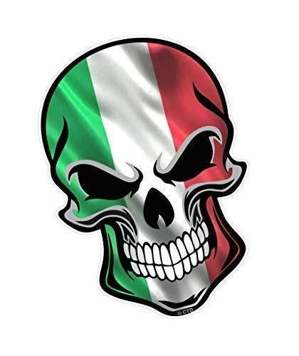Gothic Biker Totenkopf Design mit Italien Italienisch Il Tricolore Flagge Motiv Vinyl Auto Fahrrad Sticker Aufkleber 110x75mm By Ctd
