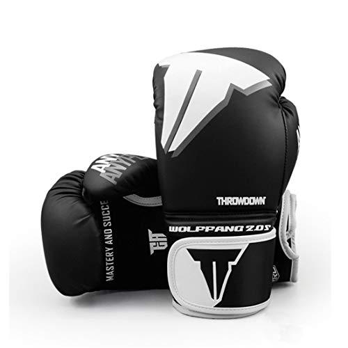 XJST Guantes de Boxeo para jóvenes, Pro Training Gloves, Guantes de Lucha Guantes de Boxeo Mits Sanda Karate Sandbag,Negro,10oz
