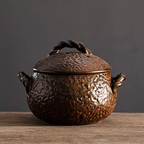 JY&WIN Small Ceramic Stew Pot With Lid,Kitchen Soup Pot Bowl,Round Ceramic Casserole With Handle,Heat-resistant Clay Pot Earthen Pot For Soup Stewing Bird's Nest Large 1.7l