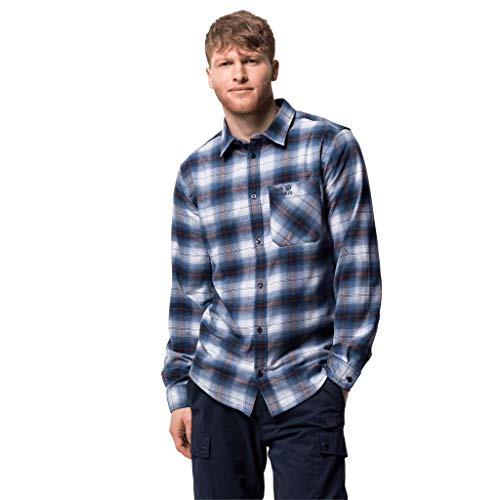 Jack Wolfskin Herren LIGHT VALLEY SHIRT schnelltrocknendes Outdoor Hemd langarm, night blau checks, L