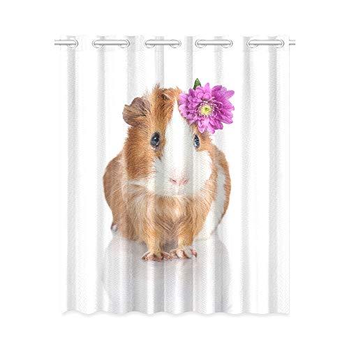 YXUAOQ Home Vorhänge Schlafzimmer Kawaii Niedliche Meerschweinchen Familie Blackout Vorhänge Creme 52x63 Zoll (132x160cm) 1 Panel Blackout Tülle Vorhang für Schlafzimmer Wohnzimmer