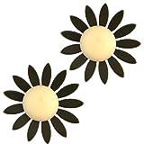 Yazilind mujeres bohemio pendientes vintage resina acrílico flor stud pendientes declaración lindo verano étnico oído joyería negro
