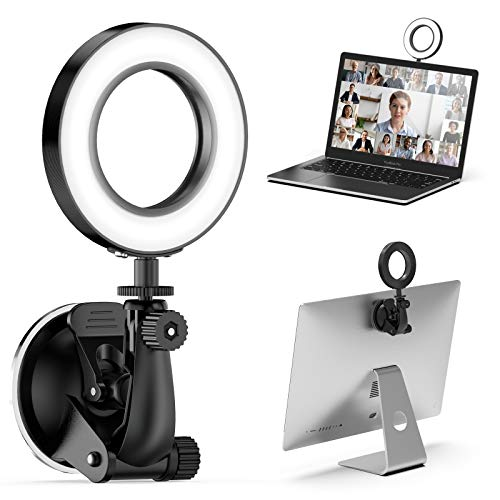 Bespoken Video Conference Lighting Kit,for Remote Working, Distance Learning,Zoom Call Lighting, Self Broadcasting and Live Streaming, Computer Laptop Video Conferencing, Strong Suction (Black)