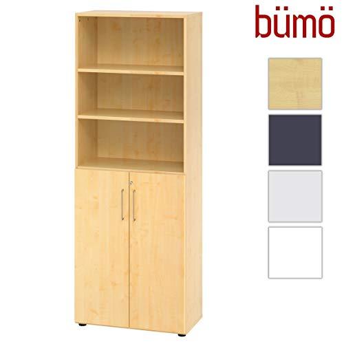 bümö® smart Aktenschrank abschließbar aus Holz | Büroschrank für Aktenordner | Büro Schrank System für Ordner | Flügeltürenschrank inkl. Einlegeböden (Ahorn, Regal-& Schrankkombi)