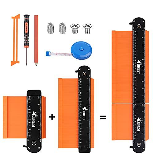 JOREST Connectable Copieur de Contour (25+12cm), Jauge Duplication Profil Verrouillable, Outils Traçage pour Bricolage,...