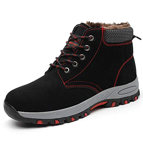 Steel Toe Cap Safety Boots with Warm Fur Lining, Plush Safety Shoes Wide Fit Winter Trainers, Puncture...
