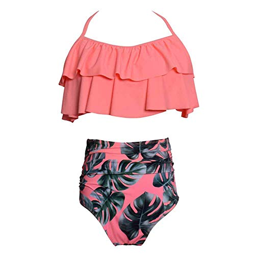 GLJWYFYY Costume da Bagno Genitore-Figlio, Bikini Stampato a Vita Alta con Balze in Suocera Costume Due Pezzi, Adulto, S