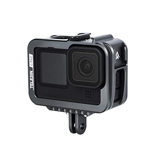 TELESIN Action-Kamera-Videokäfig, kompatibel mit GoPro Hero 9, schwarz, Vlog-Gehäuse, Aluminium-Legierung, mit Dual-Blitzschuh-Halterung, Ladeanschluss für GoPro Hero 9, schwarzes Zubehör