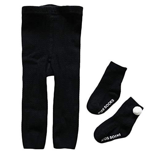 Camilife Baumwolle Strumpfhosen für Kleinkind Kinder Mädchen für Frühjahr Herbst Süß Lieblich Gestrickte Leggings Socken Set - Schwarz Größe 21/23