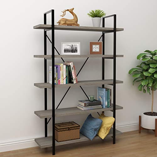 45MinST 5-Tier Vintage Industrial Style Bookcase/Metal and Wood Bookshelf Furniture for Collection,Gray Oak (5-Tier)