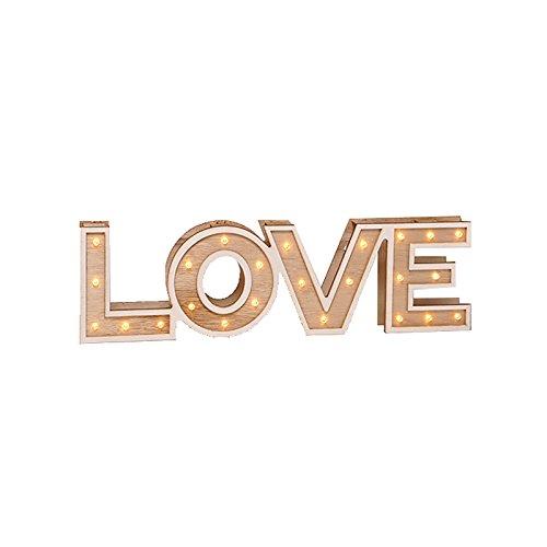 Bombilla Texto Madera LED blanco cálido Texto Home o Love Decoración Luz Iluminación, Madera, love