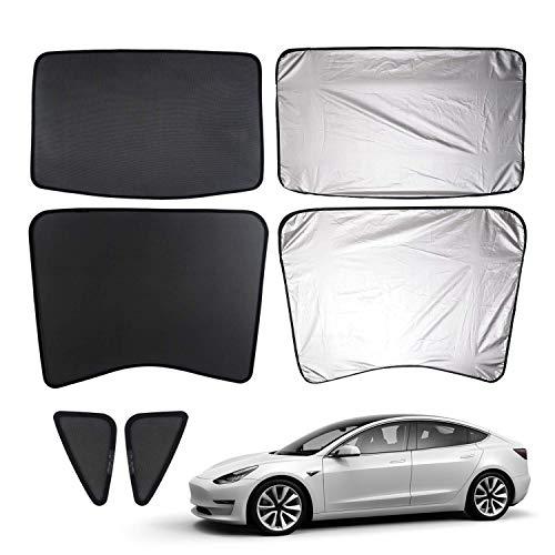 Gabriel parasoles modelo 3 para parasol de coche, protección contra rayos UV, para Tesla modelo 3, tipo de parasol trasero con protección UV y película aislante de calor