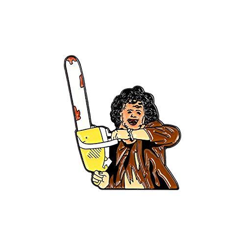 3 Stück Emaille Revers Broschen Pin Set Cartoon Charakter Kettensäge Killer Brosche für Rucksäcke Kleidung Taschen Jacken Hut Schmuck DIY Zubehör