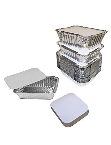 Gorse 60 PACK Disposable Aluminum Foil Pans with Lids Take Out Pans for Baking, Cooking, Storing and Freezing–Small Size 6.5' x 5.1' x 1.8'
