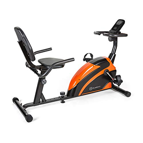KLAR FIT Klarfit Relaxbike 6.0 SE - Ergometro Reclinabile, Cardiobike, Cyclette, Volano: 12kg, Resistenza Magnetica 8 Stadi, Supporto Tablet, PulseControl, SilentBelt Drive, Max. 100 kg, Arancione