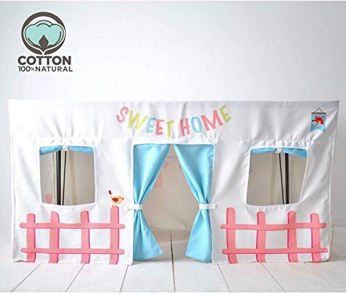 Kinderspielhäuser Stoff Junge Mädchen Tischdecke Rechteckiges Haus Indoor - Zelt Kinder Faltbare Kinderspiele Spielzelt Anpassbar mit Klettverschlüssen. (Weiß, 120 * 75cm)