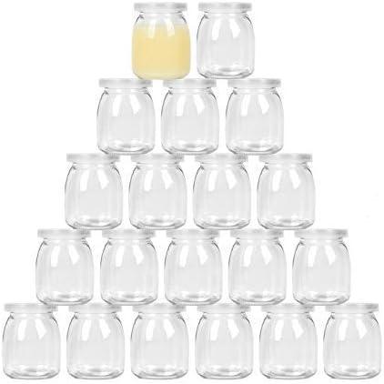 Timoo 20 pack 7 oz Yogurt Jars Clear Glass pudding Jars With Lids Yogurt Glass Jar Container product image