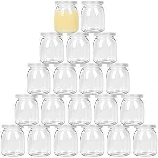 Timoo 20 pack-7 oz Yogurt Jars, Clear Glass pudding Jars With Lids, Yogurt Glass Jar Container with PE Cap for Yogurt, Pud...