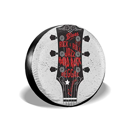 Usicapwear Tire Cover Band Cover Wiel Covers, Hand Drawn Genres Blues Pop Hard Rock Reggae Country Music Illustratie, voor SUV Truck Camper Travel Trailer Accessoires 14 inch