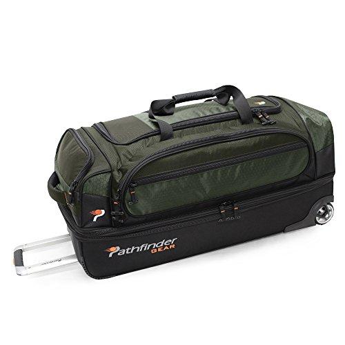 Pathfinder Gear 32 Inch Rolling Drop Bottom Duffel, Olive, One Size
