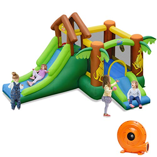 Buy Discount BOUNTECH Inflatable Bounce House, Jungle Jumping Bouncer w/ Double Slides, Jump Area, B...