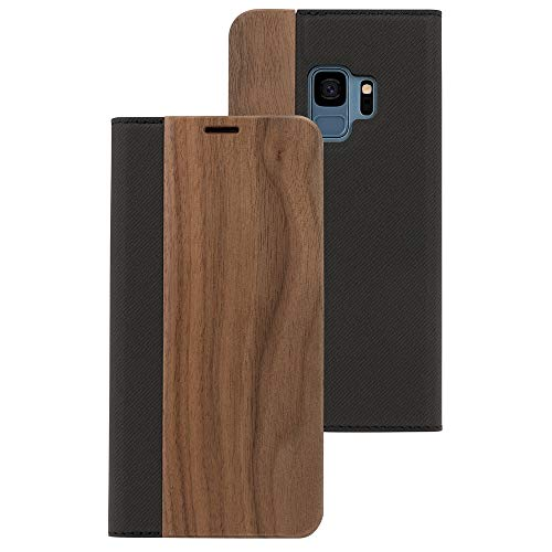NALIA Echt-Holz Handyhülle kompatibel mit Samsung Galaxy S9, Handmade Natur-Holz Handy-Tasche Klapphülle Flip-Hülle, Dünnes Slim Kunst-Leder Hardcase, Wood Book Cover Bumper, Farbe:Walnuss