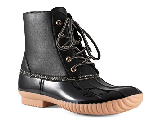 Twisted Women's Becca Two-Tone Insulated Duck Rain Boot- BECCA04 Black/Black, Size 7