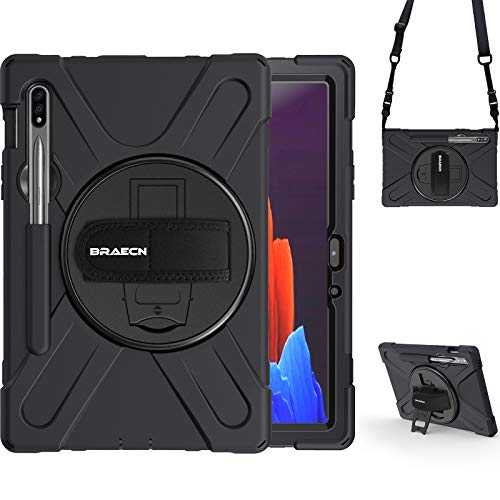 BRAECN Samsung Galaxy Tab S7 Tablet Case, Heavy-Duty Shockproof Sturdy Ruged Case[with S pen Holder/Bracket/Hand strap/Shoulder Strap]for Galaxy Tab S7 11 Inch SM-T870 SM-T875 2020 Model -black.
