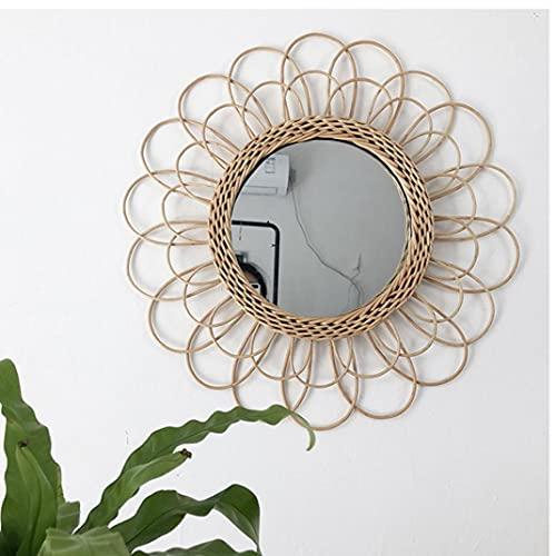 TOPofly Ratán montado en la Pared Espejo Espejo Colgante Hecho a Mano Círculo de bambú Tejido de Mimbre Moderna decoración para la Sala de baño