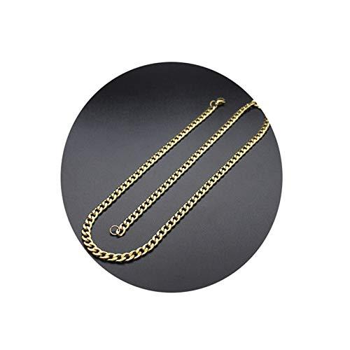 Aeici Collar para Hombre Acero Inoxidable Cadena Figaro Collares para Hombres Oro Largo 65 Cm