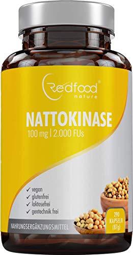 Redfood® Nattokinase 100mg NEU mit MAGENSAFTRESISTENTEN KAPSELN 2000 FU 290 Kapseln Vegan hohe Bioverfügbarkeit ohne Magnesiumstearat ohne K1 K2 mit Analyse Zertifikat