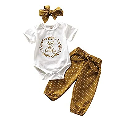 Newborn Baby Girl Clothes Short Sleeve Romper Floral Pants 3pcs Summer Outfit Set(White Onesie+Polka Dot Floral Pants, 0-3 Months)